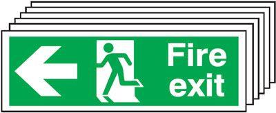 150x300 6 pack 150x300 Fire Exit Running Man Arrow Left - Nite Glo Self Adhesive