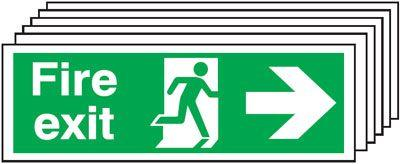 150x300mm Fire Exit Running Man Arrow Right - Self Adhesive Pk of 6