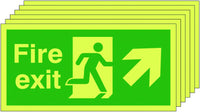 150x300 6 pack 150x300 Fire Exit Running Man Arrow Up Right - Nite Glo Self Adhesive