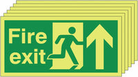 150x300 6 pack Fire Exit Running Man Arrow Up - Nite Glo Self Adhesive