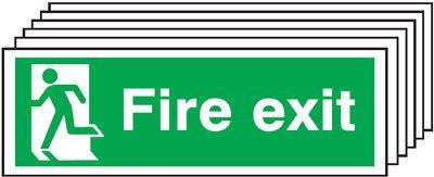 150x300mm Fire Exit Running Man Left - Self Adhesive Pk of 6