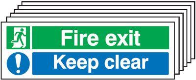 150x450 6 pack 150x450 Fire Exit Keep Clear - Nite Glo Rigid