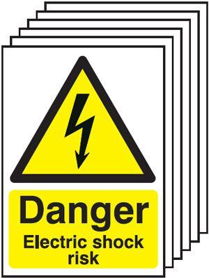 210x148mm Danger Electric Shock Risk - Self Adhesive Pk of 6
