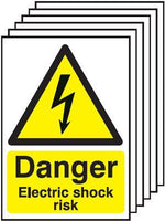 420x297mm Danger Electric Shock Risk - Self Adhesive Pk of 6