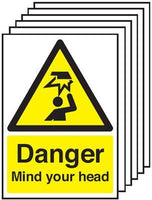 210x148mm Danger Mind Your Head - Self Adhesive Pk of 6