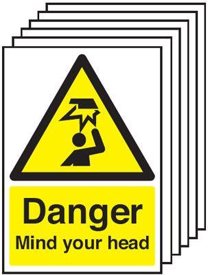 420x297mm Danger Mind Your Head - Self Adhesive Pk of 6