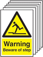 210x148mm Warning Beware of Step - Self Adhesive Pk of 6