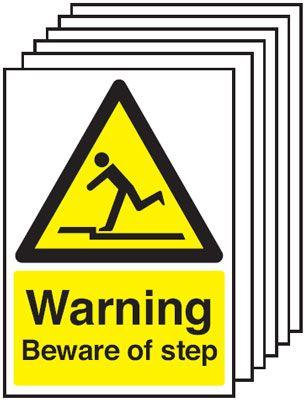 420x297mm Warning Beware of Step - Self Adhesive Pk of 6