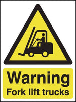 297x210mm Warning Forklift Trucks - Rigid Pk of 6