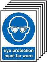 210x148mm Eye Protection Must Be Worn - Rigid Pk of 6