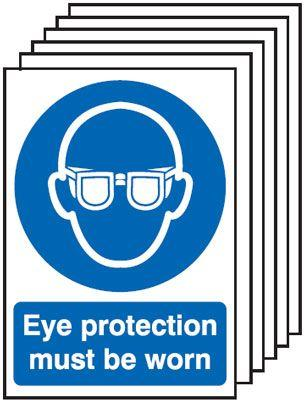 420x297mm Eye Protection Must Be Worn - Self Adhesive Pk of 6