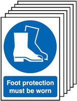 297x210mm Foot Protection Must Be Worn - Self Adhesive Pk of 6