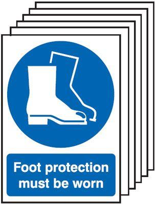 420x297mm Foot Protection Must Be Worn - Rigid Pk of 6