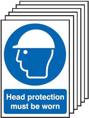 297x210mm Head Protection Must Be Worn - Rigid Pk of 6