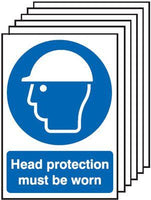 210x148mm Head Protection Must Be Worn - Rigid Pk of 6