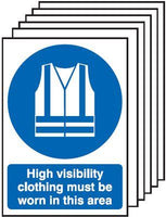 297x210mm High Visibility Clothing Must Be Worn In This Area- Rigid Pk of 6