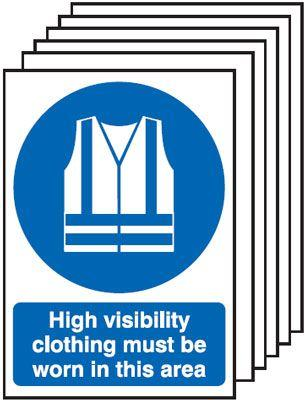 210x148mm High Visibility Clothing Must Be Worn In This Area- Self Adhesive Pk of 6
