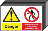300x500mm Danger No Admittance Authorised Personnel Only - Rigid Pk of 6