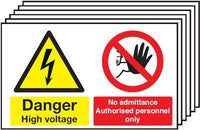 300x500mm Danger High Voltage No Admittance Authorised Personnel Only - Rigid Pk of 6