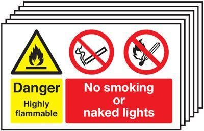 300x500mm Danger Highly Flammable No Smoking No Naked Lights - Rigid Pk of 6