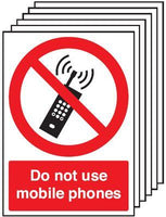 420x297mm Do Not Use Mobile Phones - Rigid Pk of 6