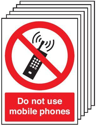 210x148mm Do Not Use Mobile Phones - Self Adhesive Pk of 6
