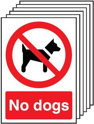 297x210mm No Dogs - Self Adhesive Pk of 6