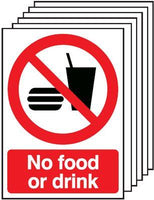 420x297mm No Food or Drink - Self Adhesive Pk of 6