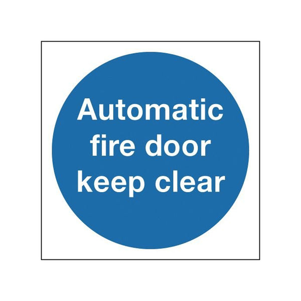 Automatic Fire Door Keep Clear Sign - 100 x 100mm
