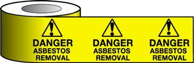 Barrier Warning Tape - 75mm x 100m - Danger Asbestos Removal