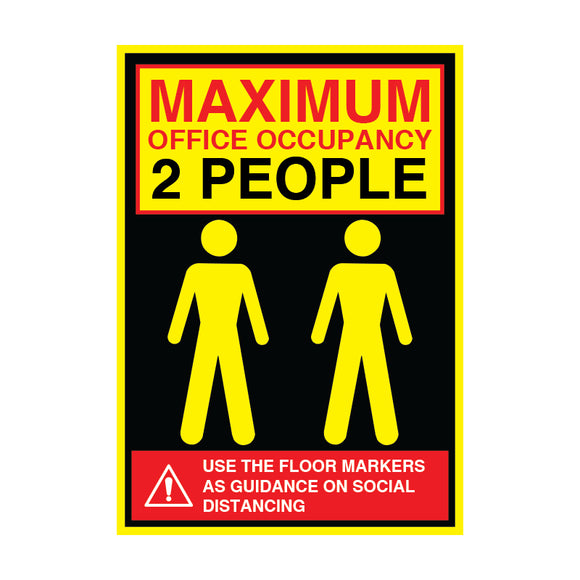 Maximum Office Occupancy 2 People - 200gsm Satin/Matt Poster, Various Sizes - COVID-19