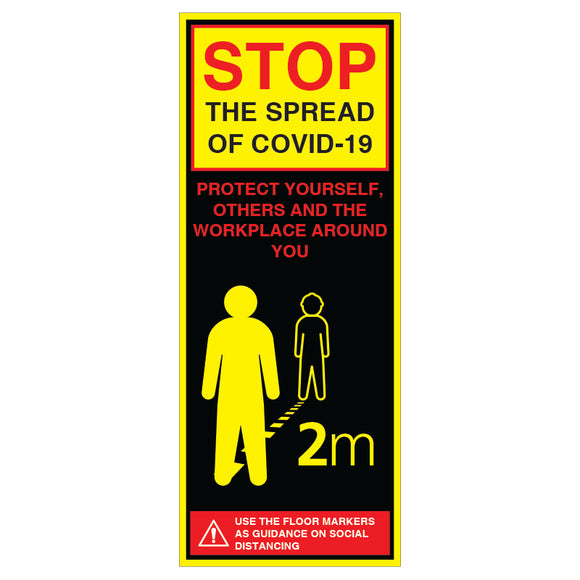 Social Distancing Guidance Free-Standing Pop-Up Banner - 800 x 2000mm