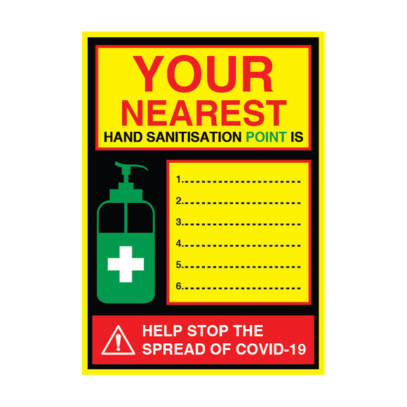 Nearest Sanitisation Point - 200gsm Satin/Matt Poster, Various Sizes - COVID-19