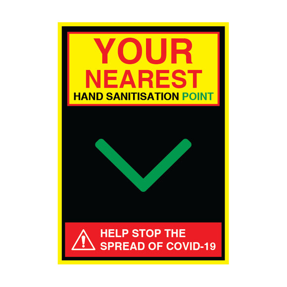 Sanitisation Point Down - 3mm Aluminium Composite, Various Sizes - COVID-19