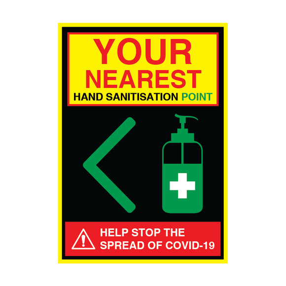 Sanitisation Point Left - 200gsm Satin/Matt Poster, Various Sizes - COVID-19
