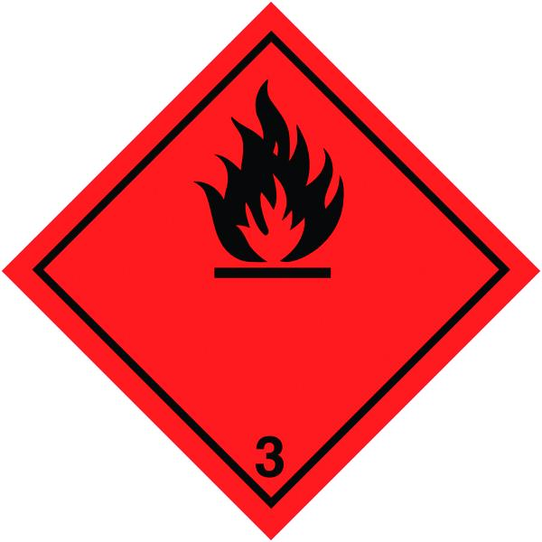 200x200mm Flammable Symbol Self Adhesive Hazard Warning Diamonds