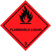 250x250mm Flammable Liquid Self Adhesive Hazard Warning Diamonds