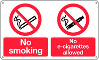 300x500mm No smoking no e-cigarettes allowed - Rigid