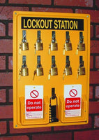 Lockout Station, board, 10 x padlocks, 6 x Do not operate tags pk of 10 and 1 lockout hasp