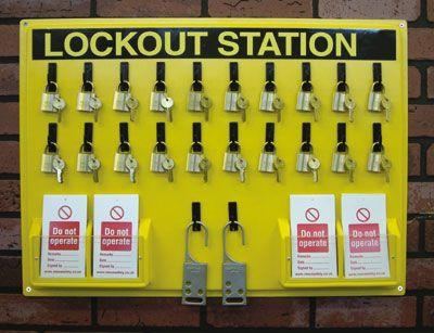 Lockout Station, board, 20 x padlocks, 12 x Do not operate tags pk of 10 and 2 lockout hasp