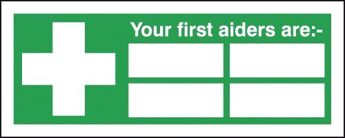 210x148mm Your First Aiders Are (with spaces) - Self Adhesive
