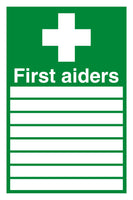 300x200mm First Aiders (with spaces) - Self Adhesive