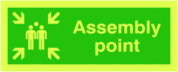 400x300mm Assembly Point - Nite Glo Self Adhesive