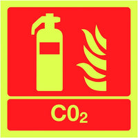 100x100mm CO2 Extinguisher - Nite Glo Self Adhesive
