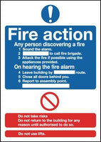 297x210mm Fire Action Notice (Standard) - Rigid