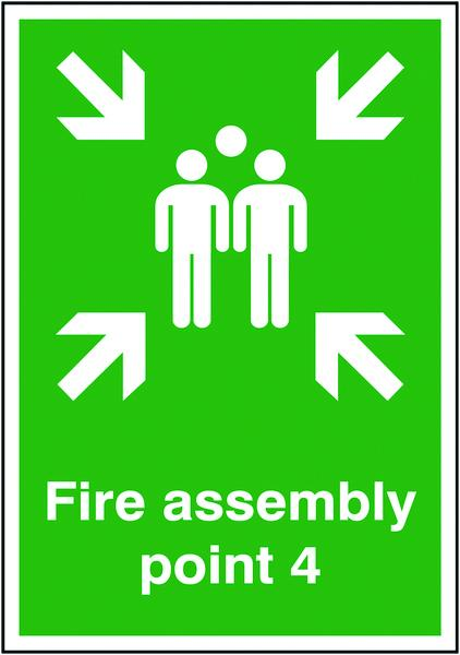 594x420mm Fire Assembly Point 4 - Self Adhesive