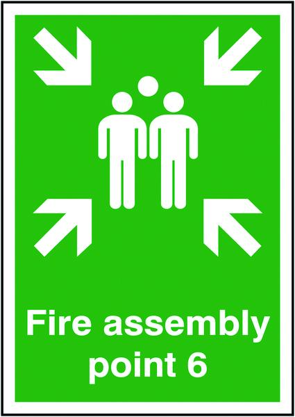 594x420mm Fire Assembly Point 6 - Self Adhesive