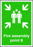 594x420mm Fire Assembly Point 8 - Self Adhesive