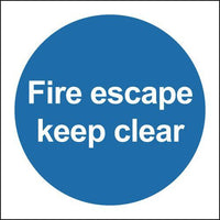 100x100mm Fire Escape Keep Clear - Rigid