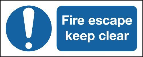 420x297mm Fire Escape Keep Clear- Self Adhesive